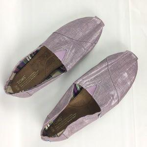 Womens Toms Shoes Classic Flats Purple Metallic 10
